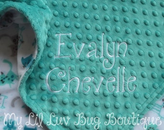 Personalized baby blanket-teal and white kittens and flowers- 30x35 cat stroller blanket