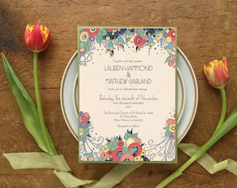 Wedding Invitation Suite, Wedding Invitations, Art Deco Wedding, Gatsby Wedding, Deco Glam, Pink Wedding Invitation, Floral, Flowers