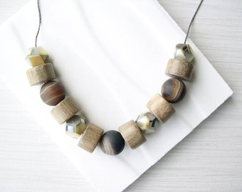 Brown Necklace, Wood Anniversary Gift, 5th, Stone Statement Jewelry, Banded Agate, Mother of Pearl, Hexagon, Tan, Beaded, Neutral