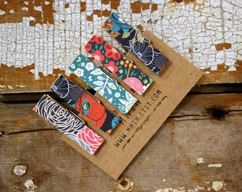 Mini Clothes pins, Bohemian Clothes pins, Small Art Projects, Kids, Organize, boho, floral, flora, Mini Clips, Wood pins, Decorative