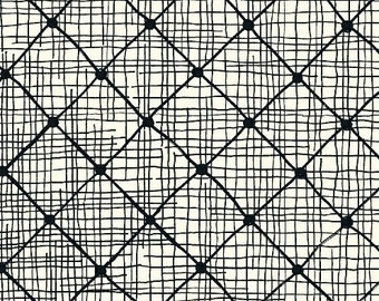 Hand Maker by Natalie Barnes for Windham Fabrics - Full or Half Yard Modern Black White Diagonal Etched Squares - Beyond the Reef