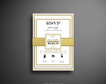ALMA Classic and Elegant Wedding Invitation with Gold Glitter Belly Band.