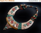 VALENTINES SALE Antique Necklace Turquoise,Amber & Coral,Nepal Jewelry,Tibetian Jewelry,Tribal Afghan Jewelry by Taneesi