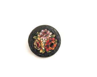 Antique Italian Micro Mosaic Brooch Floral on Black