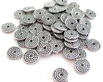 Silver Spiral Round Spacer - Silver Flat Rondelle Beads - Center Hole Beadcap - Silver Swirl Spacers - Diy Jewelry Findings - 10mm - 25 Pcs
