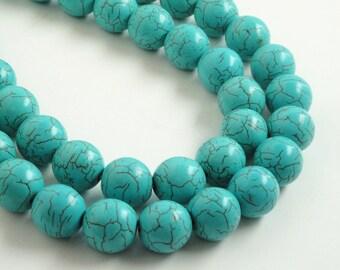 "Turquoise Beads - Howlite Gemstone Round Beads - Blue with Brown Matrix - X Large Round Ball Beads - 15mm - 16"" Strand - Diy Jewelry Making"