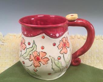 Pottery mug/red mug/coffee mug/large coffee mug/flowered mug/mug/handmade mug