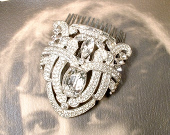 ANTIQUE Roaring Twenties Wedding Hair Comb, Bridal HairPiece Art Deco Silver Rhinestone Dress Clip Vintage Headpiece 1920 haircomb Edwardian