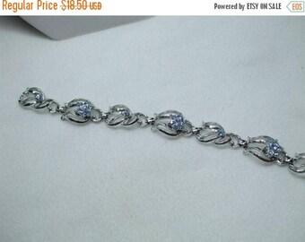 SALE 50% OFF Vintage Aqua Blue Rhinestone Silver Tone flower Bracelet