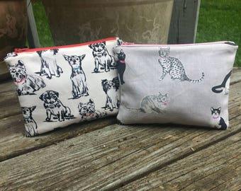 Pet Lover Print Canvas Zipper Pouch, Dogs, Puppies, Cats, Kittens, Dog Walker, Pet Sitter, Groomer, Make-Up Bag - FREE U.S. SHIPPING