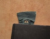 Grichels leather bookmark - green with honey brown and green slit pupil bobcat eye