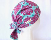 Scrub Cap - Surgical Hat - Nurse, Doctor, Tech, Vet, Tie Back Scrub Hat, Pink and Blue Damask