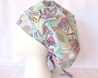 Bouffant Surgical Scrub Hat, Scrub Cap for Woman, Ties into a Ponytail Scrub Hat. Floral on Teal, Turquoise, Mint