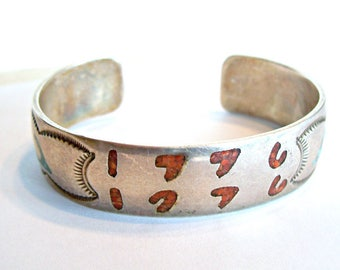 Coral Turquoise Sterling Silver Bicentennial Cuff Bracelet Chip Inlay 1779 1976 Navajo Herman Coan Southwestern 1970's Vintage