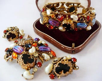 Florenza watermelon AB stones jewelry set   vintage bracelet brooch pin clip earrings   fantasy art stones   rare   designer signed