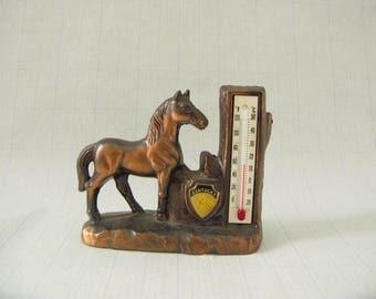Vintage Horse, Copper, Collectible, western, thermometer, Kentucky Souvenir