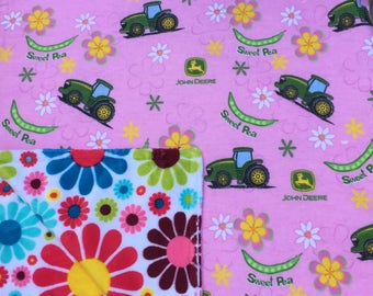 """Baby Blanket - John Deere Tractors on Pink Flannel with Bright Floral Minky, 29"""" X 35"""""""