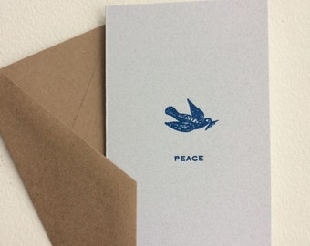 6 Folk City Letterpress Notecards: Wishes of PEACE for the Holiday & New Year