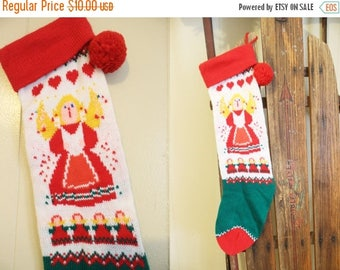 30% OFF SALE Vintage Knit Christmas Stocking Angel Holiday Knittted Pompom