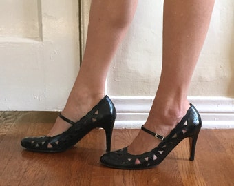 Vintage Black 80's Mary Janes, High Heel Pumps with Decorative Cut Outs,  Leather, Size 8.5