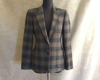 Vintage Plaid Jacket, Blazer, Gray and Brown Plaid, Size Small, Wool Blazer, Menswear Style, Suit Jacket, Preppy, Business, Work, SALE
