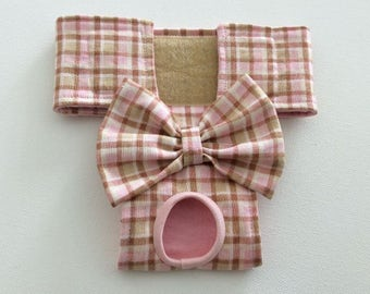 Female Dog Diaper - Britches - Dog Panty / Panties- Pink and Tan Plaid - Available in all Sizes