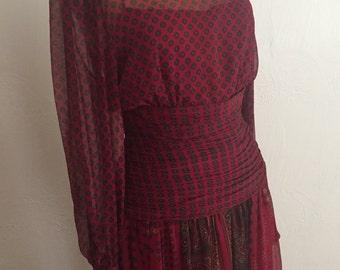 Regal Sheer Wine Silk Medallion Print Ruched Wide Waist and Wide Cuff Vintage ENRICO GELINI Dress 6