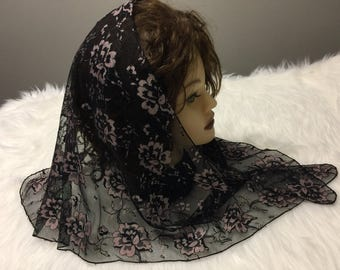Triangle  Black Lavender lace church chapel mantilla veil scarf - floral Mass Church Veil / Traditional Head Covering / Veiling
