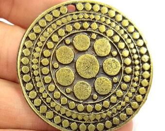 Antique Bronze Pendant Tribal Pendant Ethnic Pendant  Medallion Pendant  (52mm) G6669
