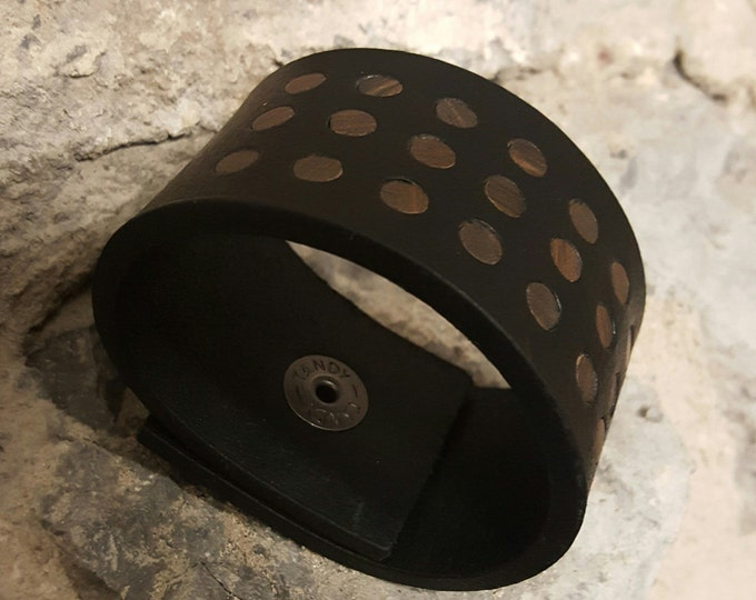 """Black Leather Bracelet Cuff Confetti Unisex Wrist Cuff with Brown Polka Dots Snap Close fits Size 6.75"""" Velvet or Burlap Gift Bag Included"""