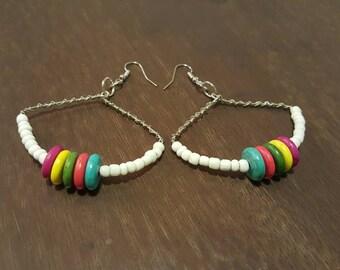 Beaded White Multicolor Earring