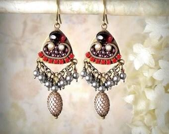 Rhythm and Rouge - Romantic Red Garnet Earrings Micromosaic Micro Mosaic Rhinestone Pearls Valentines Day Edwardian Style January Birthstone