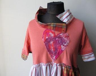 Shabby Tattered Orange Tunic, Funky Bohemian Tops, Heart Tshirt, Plus Size Upcycled Shirts, Cute Ragamuffin Clothing, Reclaimed Repurposed