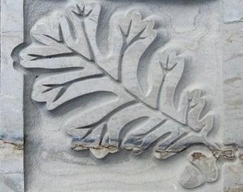 """Autumn Mist - 4""""x4"""" English Oakleaf - Etched Slate Tile - SRA"""