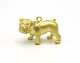 Brass Pug Charm, Gold Color Bulldog Pendant, Small Dog Necklace Charm, Dog Lovers Brass Pendant