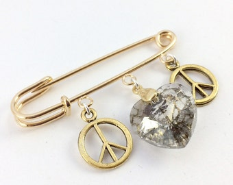 Safety Pin Ally Brooch - Peace and Love Gold & Patina Heart Pin