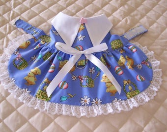 Sweet XS-S Blue Easter Dog Dress Chicks Baskets Eggs Lace Bow Pets Clothes Handmade
