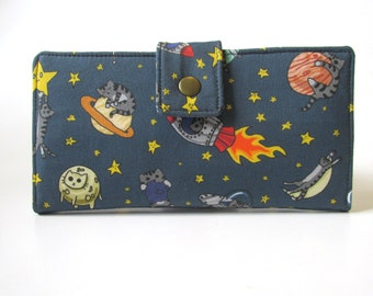 Handmade wallet for women - Cats in the space - astro cats - ID clear pocket - custom order -clutch purse - birthday gift ideas for her
