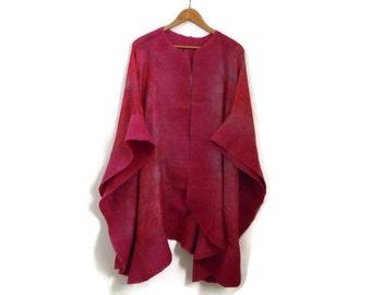 hand dyed silk poncho, shawl, felted border, evening wear, cherry pink