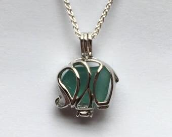 SS Baby elephant sea glass genuine jewelry  elephant necklace  baby elephant