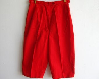 Vintage 50s 60s Red Cotton Pedal Pushers Clamdigger Capri Cropped Pants 24w