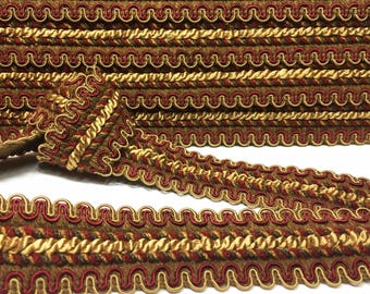 Scalloped Braid - Rusty Red and Gold Braid - Double Scalloped Trim - Pillow Trim - Tote Bag Trim - Sewing Trim - Wide Gimp - 1 yard