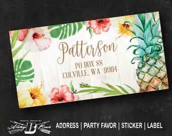Tropical Address Label | Return Address Label | Pineapple Address Label | Hibiscus Sticker | Custom Address Label | Sticker Thank You Favor