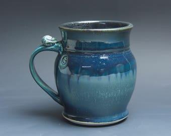 Pottery beer mug, ceramic mug stoneware beer stein deep blue 24 oz 3931