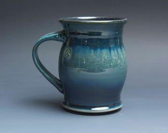 Pottery coffee mug, ceramic mug, stoneware tea cup navy blue 16 oz 3943
