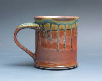 Handmade pottery coffee mug, ceramic mug, stoneware tea cup 14 oz mug deep glossy tangerine red flake  3988