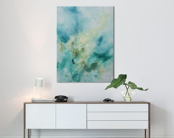 Abstract Print Painting black blue turquoise seascape painting Golden Treasures Elenas Art Studio 582
