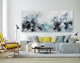 Abstract seascape giclee print on canvas from painting horizontal blue white black grey 'sea story'opus #1' 603