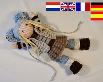Crochet pattern for doll JOYA, pdf  (Deutsch, English, Nederlands,  Español, Français)