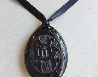 Victorian Jet Pendant Mourning IMO In Memory Of